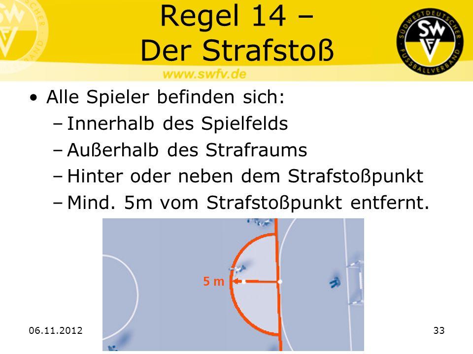 Regel 14 – Der Strafstoß Alle Spieler befinden sich: –Innerhalb des Spielfelds –Außerhalb des Strafraums –Hinter oder neben dem Strafstoßpunkt –Mind.