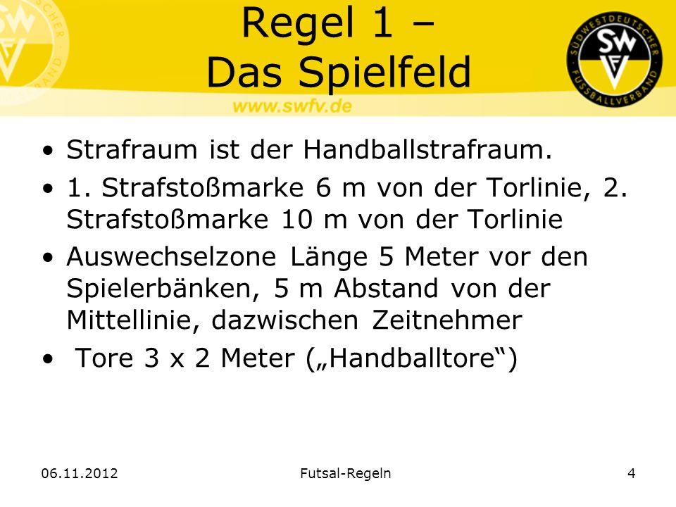 Regel 1 – Das Spielfeld Strafraum ist der Handballstrafraum. 1. Strafstoßmarke 6 m von der Torlinie, 2. Strafstoßmarke 10 m von der Torlinie Auswechse