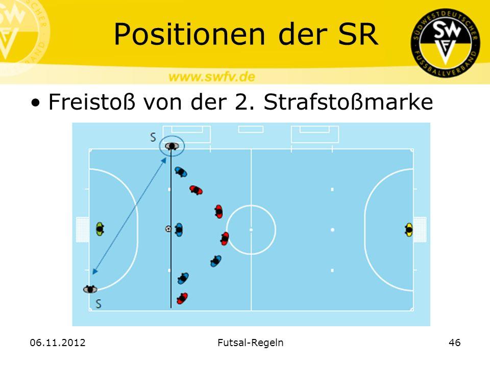Positionen der SR Freistoß von der 2. Strafstoßmarke 06.11.2012Futsal-Regeln46