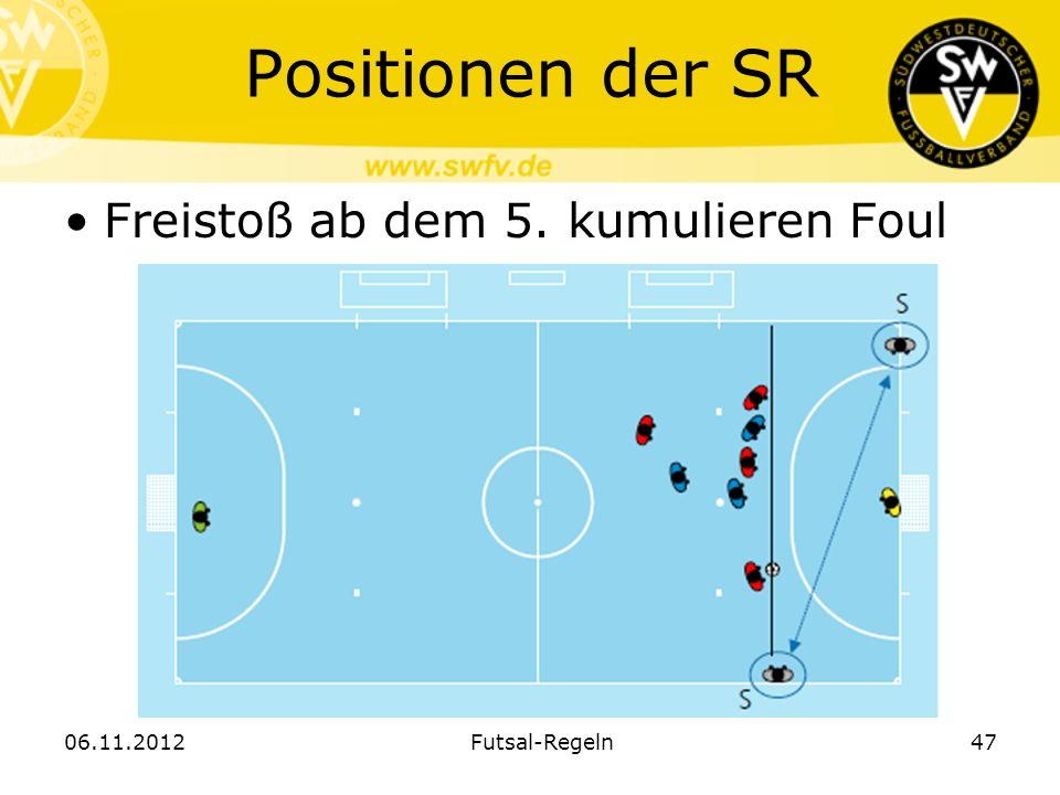 Positionen der SR Freistoß ab dem 5. kumulieren Foul 06.11.2012Futsal-Regeln47