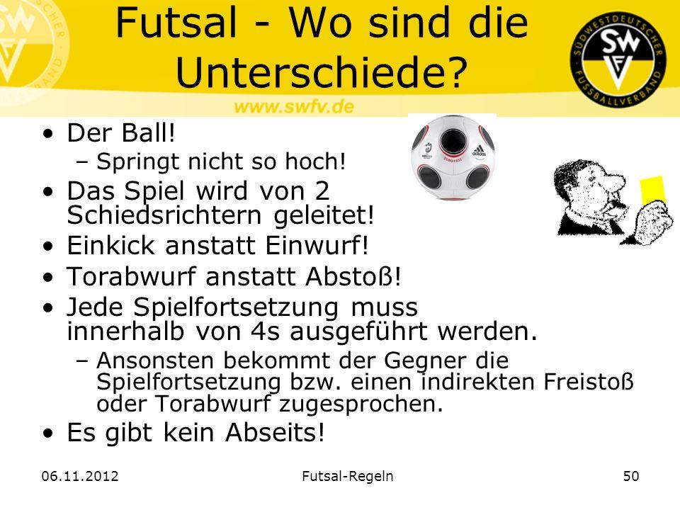 Futsal - Wo sind die Unterschiede? Der Ball! –Springt nicht so hoch! Das Spiel wird von 2 Schiedsrichtern geleitet! Einkick anstatt Einwurf! Torabwurf