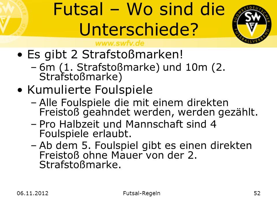 Futsal – Wo sind die Unterschiede? Es gibt 2 Strafstoßmarken! –6m (1. Strafstoßmarke) und 10m (2. Strafstoßmarke) Kumulierte Foulspiele –Alle Foulspie