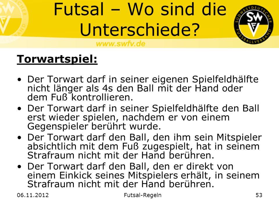 53 Futsal – Wo sind die Unterschiede? Torwartspiel: Der Torwart darf in seiner eigenen Spielfeldhälfte nicht länger als 4s den Ball mit der Hand oder