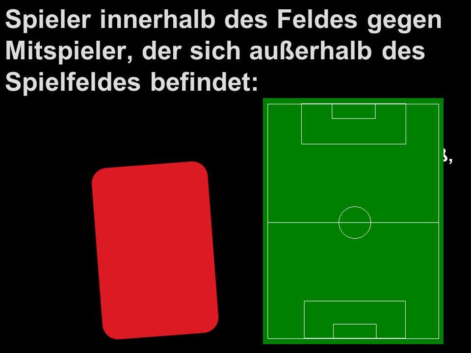 Spieler innerhalb des Feldes gegen Mitspieler, der sich außerhalb des Spielfeldes befindet: Indirekter Freistoß, wo Ball