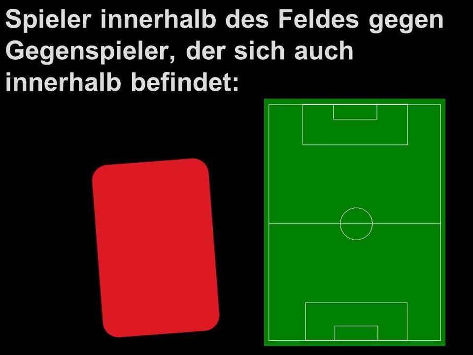 Spieler innerhalb des Feldes gegen Gegenspieler, der sich auch innerhalb befindet: Direkter Freistoß, wo Gegenspieler