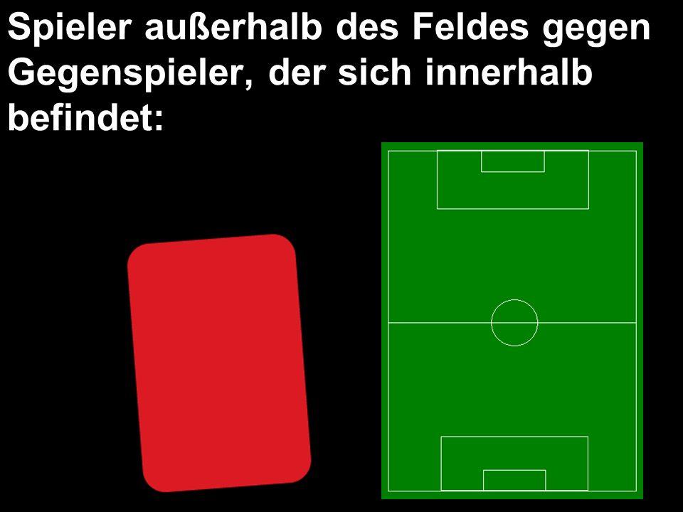 Spieler außerhalb des Feldes gegen Gegenspieler, der sich innerhalb befindet: Direkter Freistoß, wo Gegenspieler