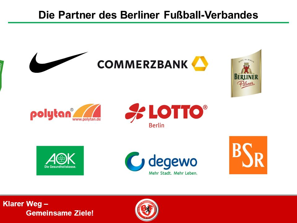Klarer Weg – Gemeinsame Ziele! Die Partner des Berliner Fußball-Verbandes