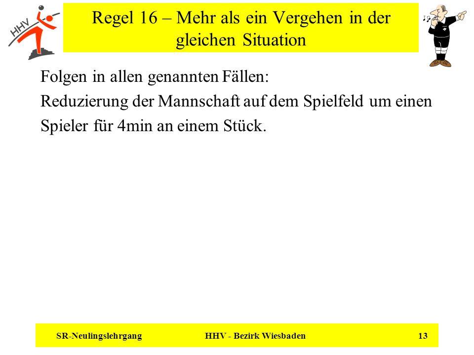 SR-Neulingslehrgang HHV - Bezirk Wiesbaden 13 Regel 16 – Mehr als ein Vergehen in der gleichen Situation Folgen in allen genannten Fällen: Reduzierung
