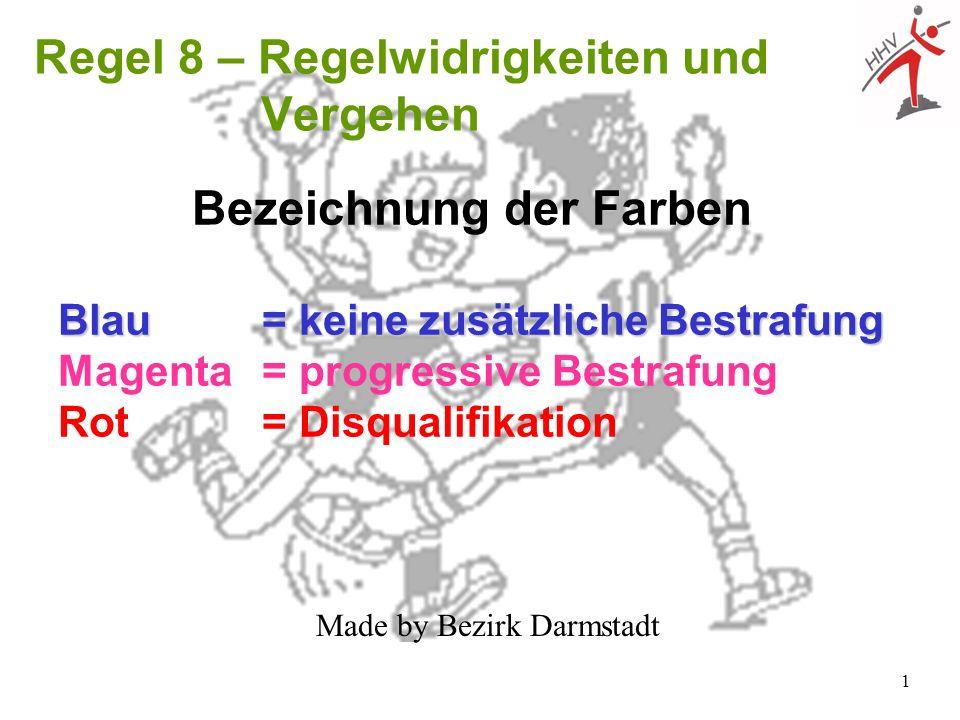 1 Bezeichnung der Farben Blau = keine zusätzliche Bestrafung Magenta = progressive Bestrafung Rot = Disqualifikation Regel 8 – Regelwidrigkeiten und V