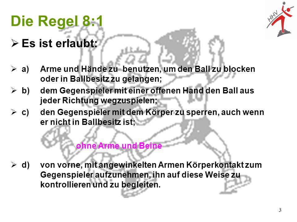 3 Die Regel 8:1 Es ist erlaubt: a) Arme und Hände zu benutzen, um den Ball zu blocken oder in Ballbesitz zu gelangen; b)dem Gegenspieler mit einer off