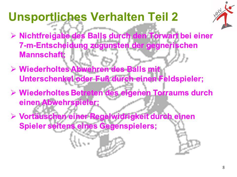 8 Unsportliches Verhalten Teil 2 Nichtfreigabe des Balls durch den Torwart bei einer 7-m-Entscheidung zugunsten der gegnerischen Mannschaft; Wiederhol