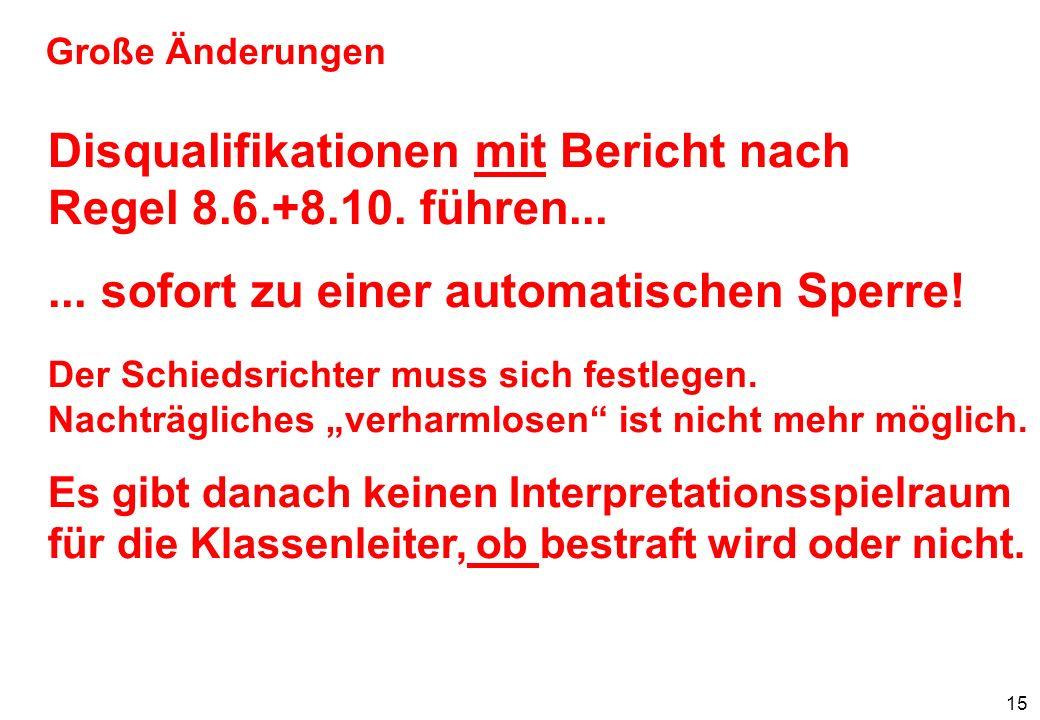 16 Große Änderungen Disqualifikation mit Bericht nach Regel 8.6.+8.10.......