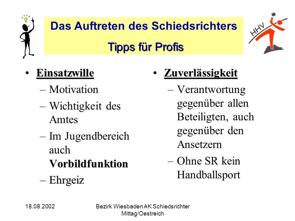 Das Auftreten des Schiedsrichters Tipps für Profis Tipps für Profis 18.08.2002Bezirk Wiesbaden AK Schiedsrichter Mittag/Oestreich EinsatzwilleEinsatzw