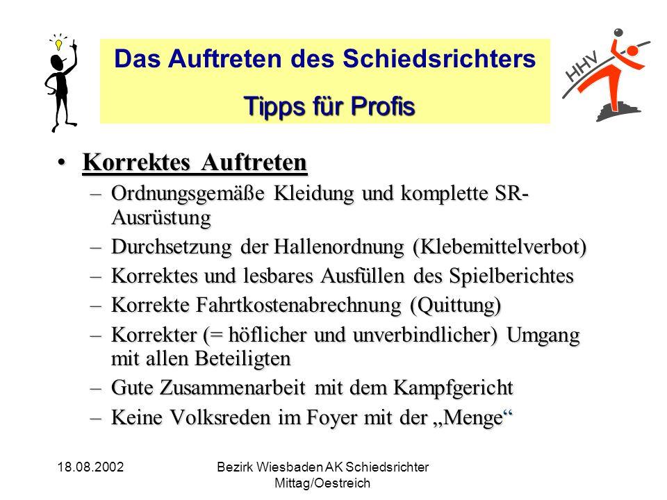Das Auftreten des Schiedsrichters Tipps für Profis Tipps für Profis 18.08.2002Bezirk Wiesbaden AK Schiedsrichter Mittag/Oestreich Korrektes AuftretenK