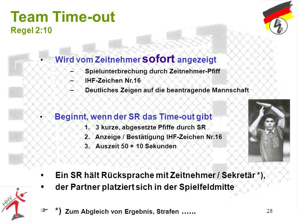 28 Team Time-out Regel 2:10 Wird vom Zeitnehmer sofort angezeigt –Spielunterbrechung durch Zeitnehmer-Pfiff –IHF-Zeichen Nr.16 –Deutliches Zeigen auf die beantragende Mannschaft Beginnt, wenn der SR das Time-out gibt 1.