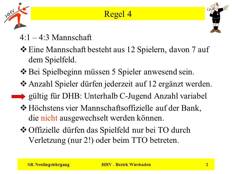 SR-Neulingslehrgang HHV - Bezirk Wiesbaden 2 Regel 4 4:1 – 4:3 Mannschaft Eine Mannschaft besteht aus 12 Spielern, davon 7 auf dem Spielfeld. Bei Spie