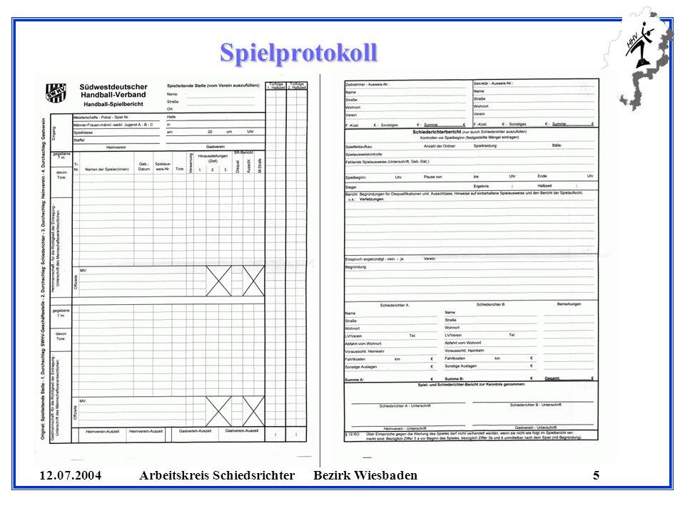 12.07.2004 Arbeitskreis SchiedsrichterBezirk Wiesbaden 5 Spielprotokoll