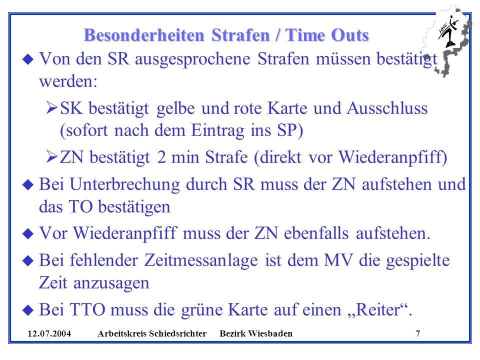 12.07.2004 Arbeitskreis SchiedsrichterBezirk Wiesbaden 7 u Von den SR ausgesprochene Strafen müssen bestätigt werden: SK bestätigt gelbe und rote Kart