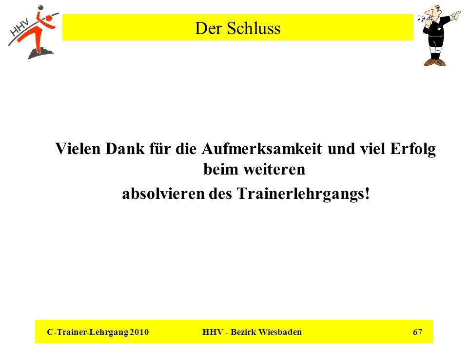 C-Trainer-Lehrgang 2010 HHV - Bezirk Wiesbaden 67 Der Schluss Vielen Dank für die Aufmerksamkeit und viel Erfolg beim weiteren absolvieren des Trainer