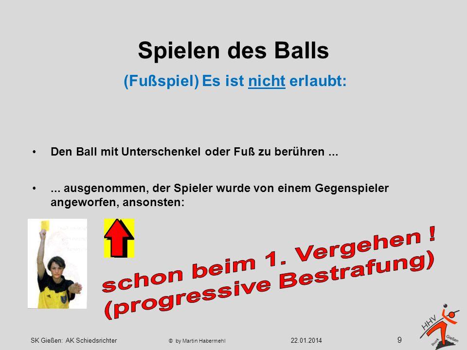 Spielen des Balls Beispiele für nicht erlaubte Fußabwehr 10 22.01.2014SK Gießen: AK Schiedsrichter © by Martin Habermehl