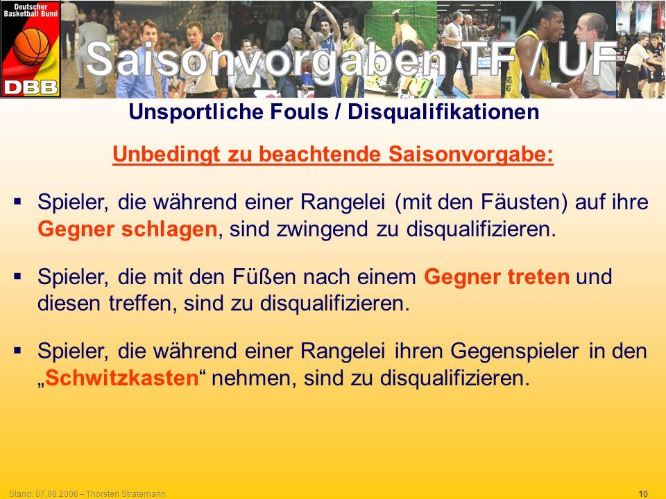 10Stand: 07.08.2006 – Thorsten Stratemann Unsportliche Fouls / Disqualifikationen Unbedingt zu beachtende Saisonvorgabe: Spieler, die während einer Ra