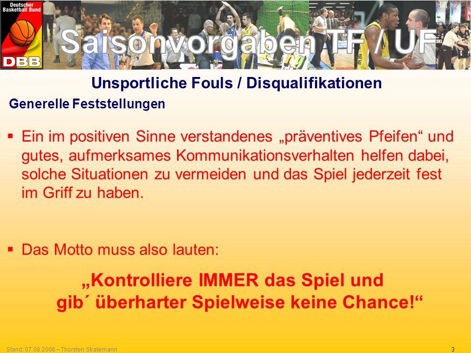 14Stand: 07.08.2006 – Thorsten Stratemann Unsportliche Fouls in den letzten Spielminuten 2.Bei Fouls während stehender Spieluhr sind durch die SR strengste Maßstäbe anzulegen.