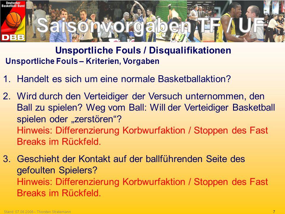 7Stand: 07.08.2006 – Thorsten Stratemann Unsportliche Fouls – Kriterien, Vorgaben 1.Handelt es sich um eine normale Basketballaktion? 2.Wird durch den