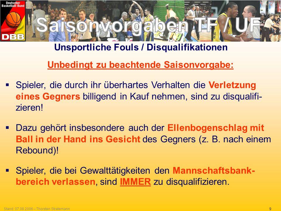 9Stand: 07.08.2006 – Thorsten Stratemann Unsportliche Fouls / Disqualifikationen Unbedingt zu beachtende Saisonvorgabe: Spieler, die durch ihr überhar