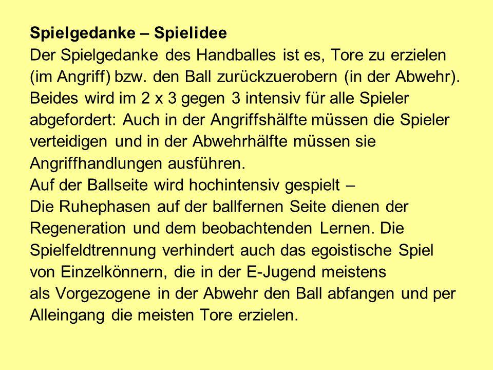 Spielgedanke – Spielidee Der Spielgedanke des Handballes ist es, Tore zu erzielen (im Angriff) bzw.