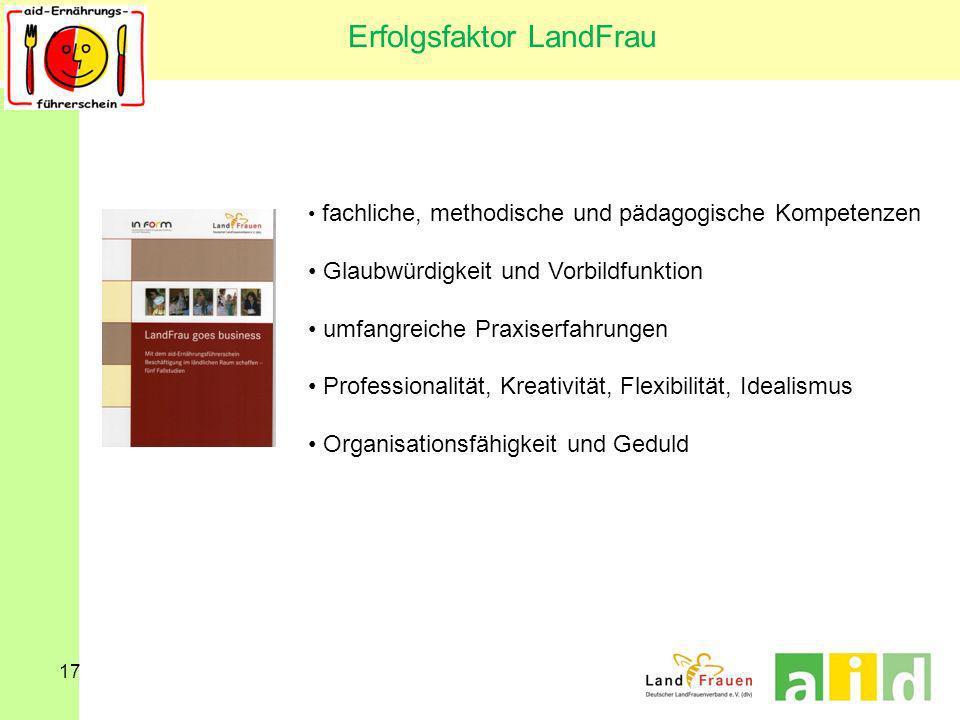 17 Erfolgsfaktor LandFrau fachliche, methodische und pädagogische Kompetenzen Glaubwürdigkeit und Vorbildfunktion umfangreiche Praxiserfahrungen Profe