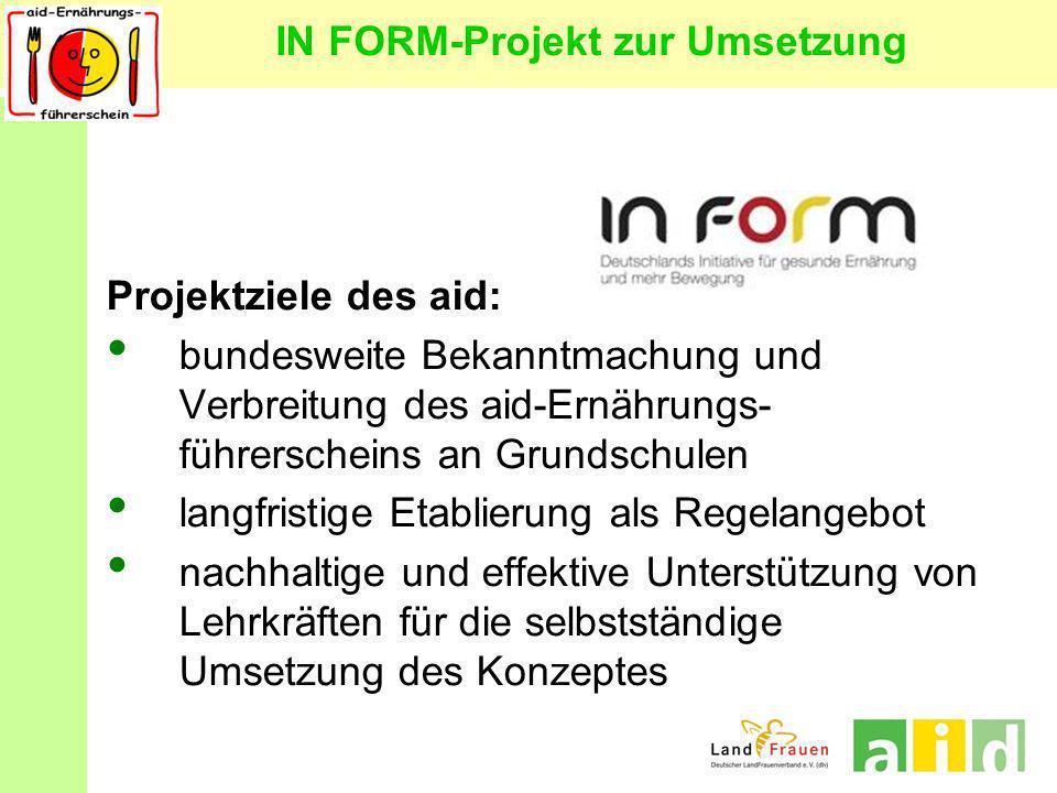IN FORM-Projekt zur Umsetzung Projektziele des aid: bundesweite Bekanntmachung und Verbreitung des aid-Ernährungs- führerscheins an Grundschulen langf
