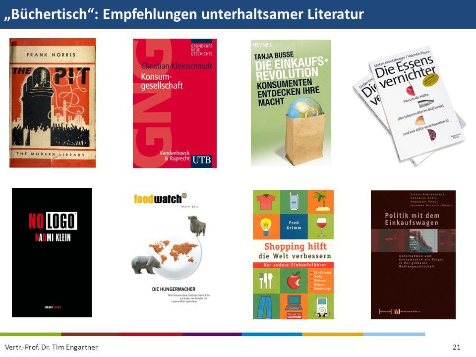 Büchertisch: Empfehlungen unterhaltsamer Literatur Vertr.-Prof. Dr. Tim Engartner21