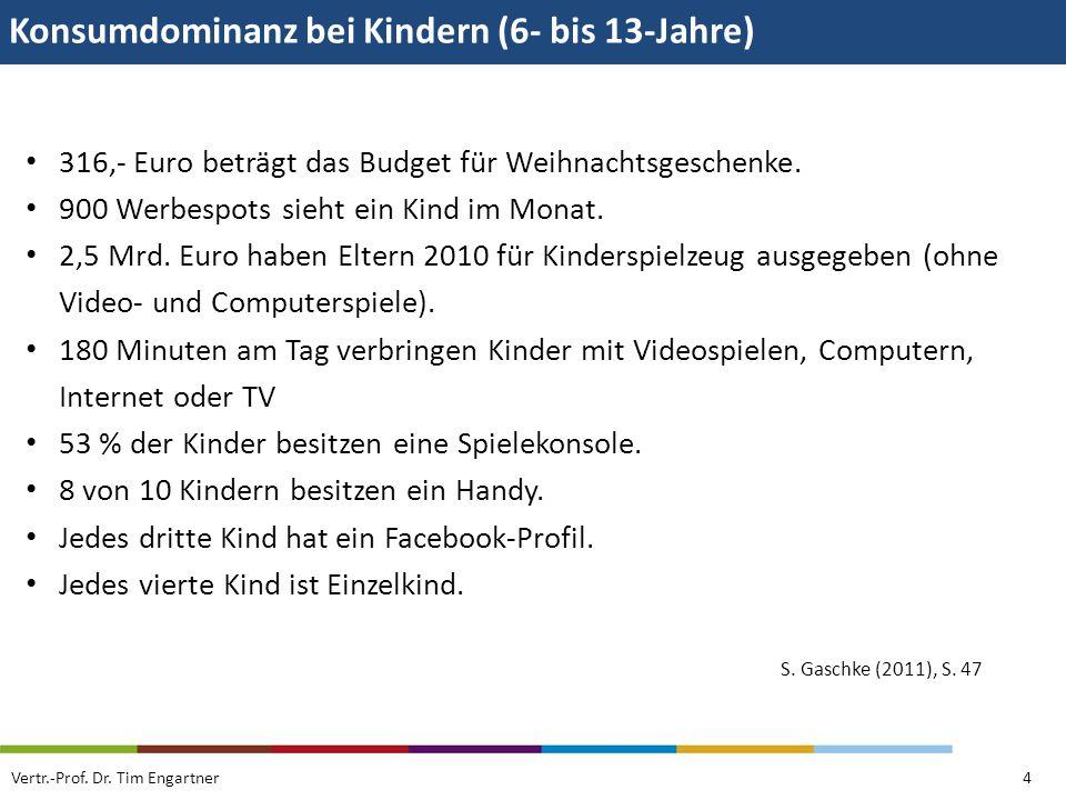 Konsumdominanz bei Kindern (6- bis 13-Jahre) Vertr.-Prof. Dr. Tim Engartner4 316,- Euro beträgt das Budget für Weihnachtsgeschenke. 900 Werbespots sie