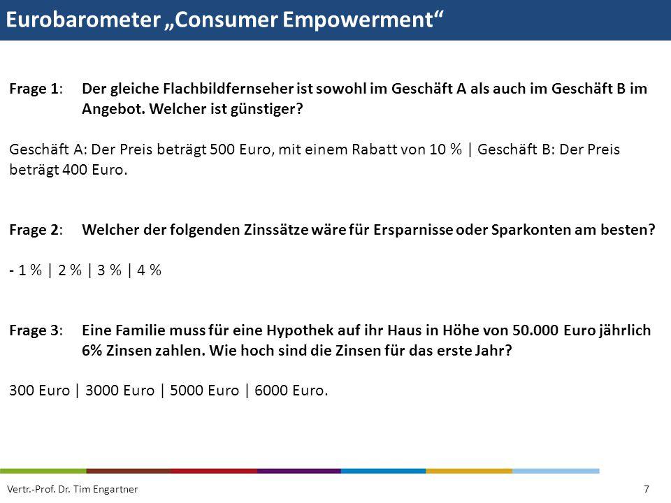 Eurobarometer Consumer Empowerment Vertr.-Prof. Dr. Tim Engartner7 Frage 1: Der gleiche Flachbildfernseher ist sowohl im Geschäft A als auch im Geschä