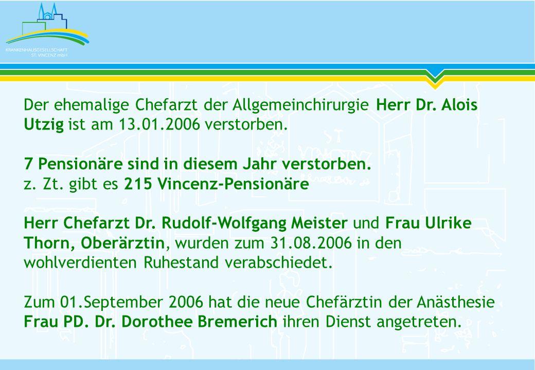 Der ehemalige Chefarzt der Allgemeinchirurgie Herr Dr. Alois Utzig ist am 13.01.2006 verstorben. 7 Pensionäre sind in diesem Jahr verstorben. z. Zt. g