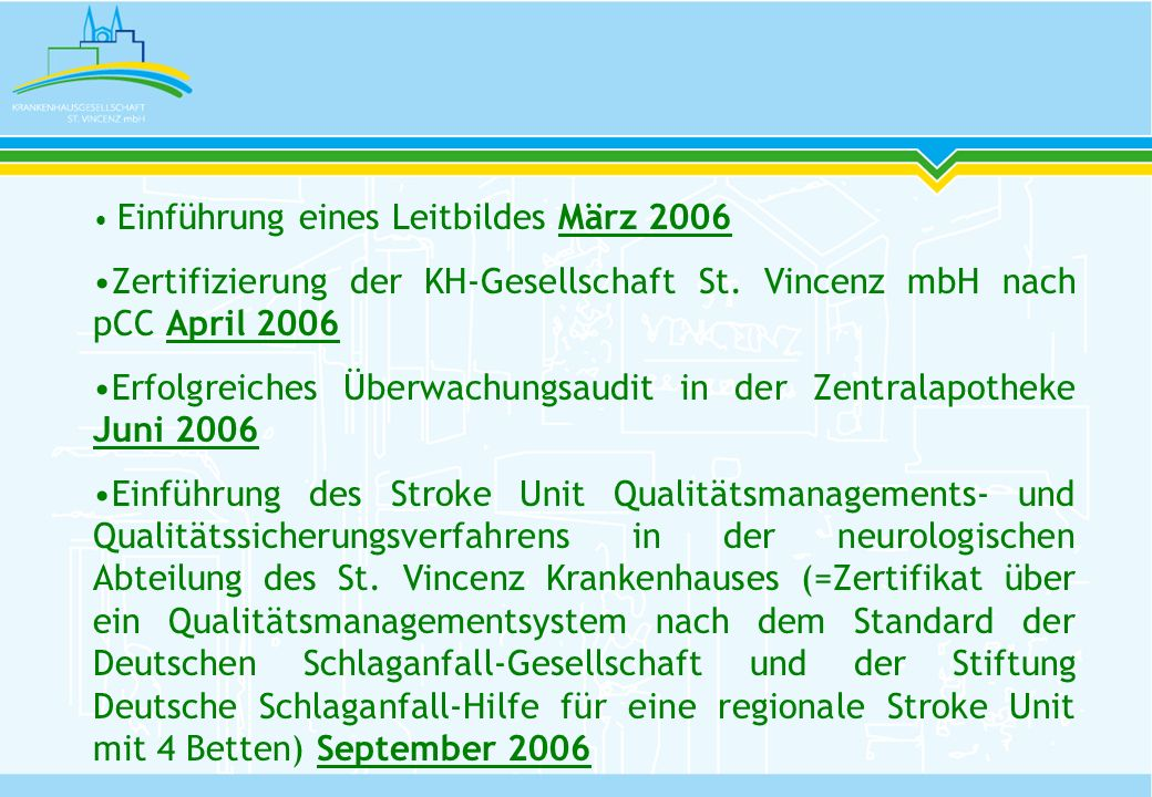 Einführung eines Leitbildes März 2006 Zertifizierung der KH-Gesellschaft St. Vincenz mbH nach pCC April 2006 Erfolgreiches Überwachungsaudit in der Ze