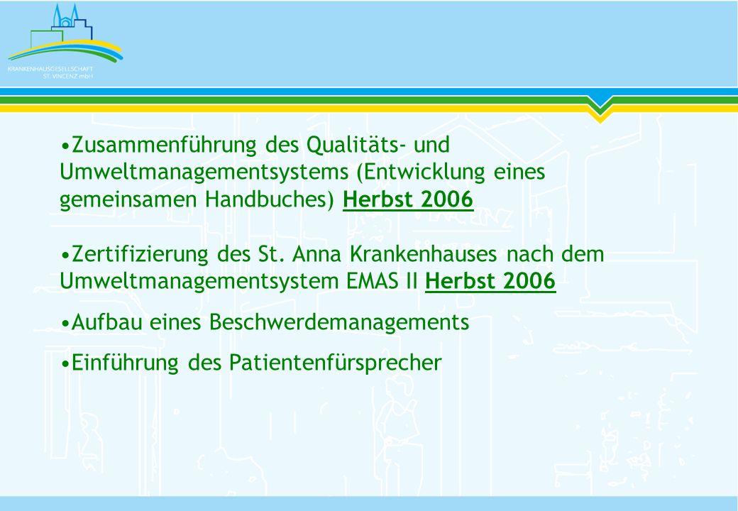 Zusammenführung des Qualitäts- und Umweltmanagementsystems (Entwicklung eines gemeinsamen Handbuches) Herbst 2006 Zertifizierung des St. Anna Krankenh