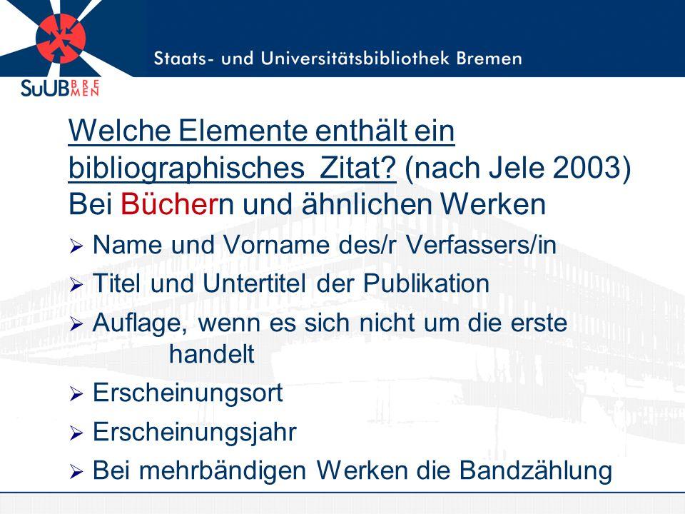 Welche Elemente enthält ein bibliographisches Zitat.