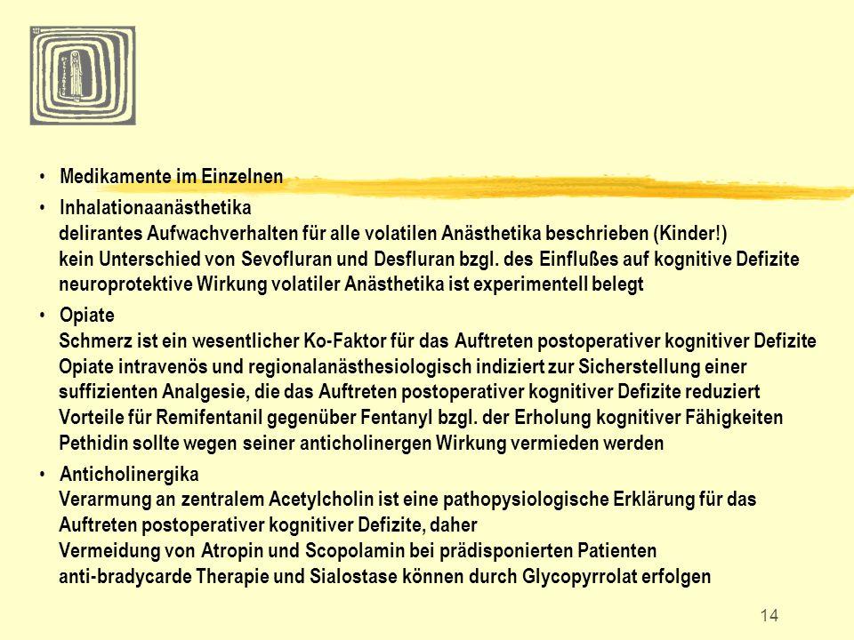 14 Medikamente im Einzelnen Inhalationaanästhetika delirantes Aufwachverhalten für alle volatilen Anästhetika beschrieben (Kinder!) kein Unterschied v