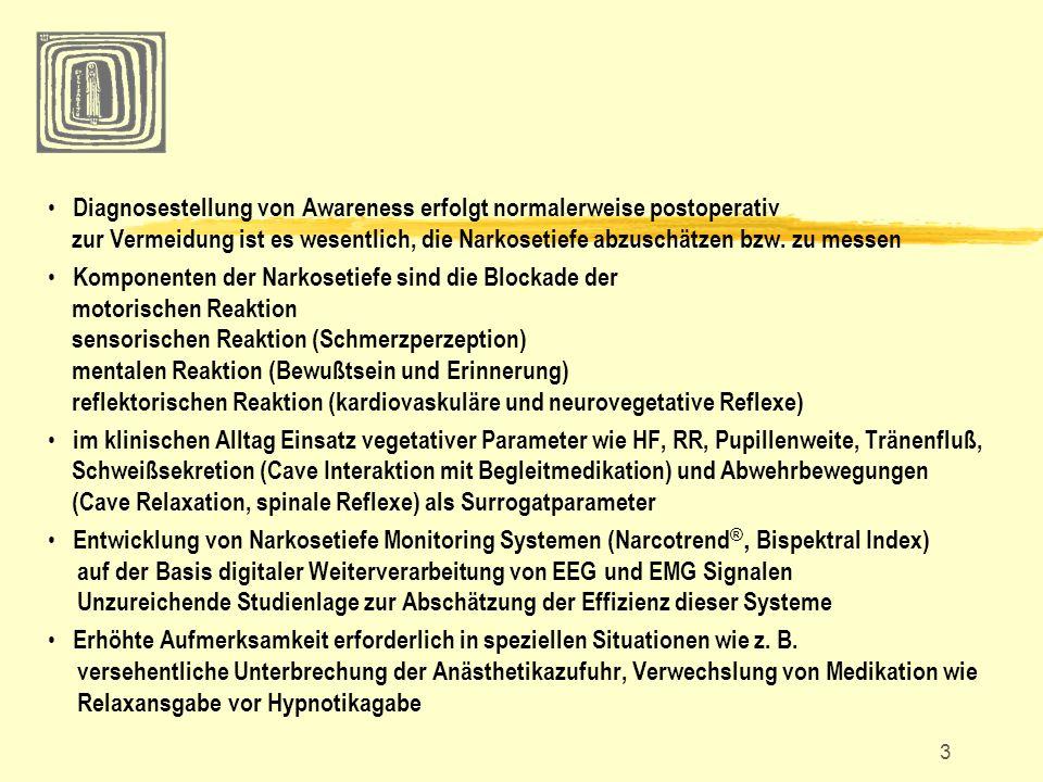 14 Medikamente im Einzelnen Inhalationaanästhetika delirantes Aufwachverhalten für alle volatilen Anästhetika beschrieben (Kinder!) kein Unterschied von Sevofluran und Desfluran bzgl.