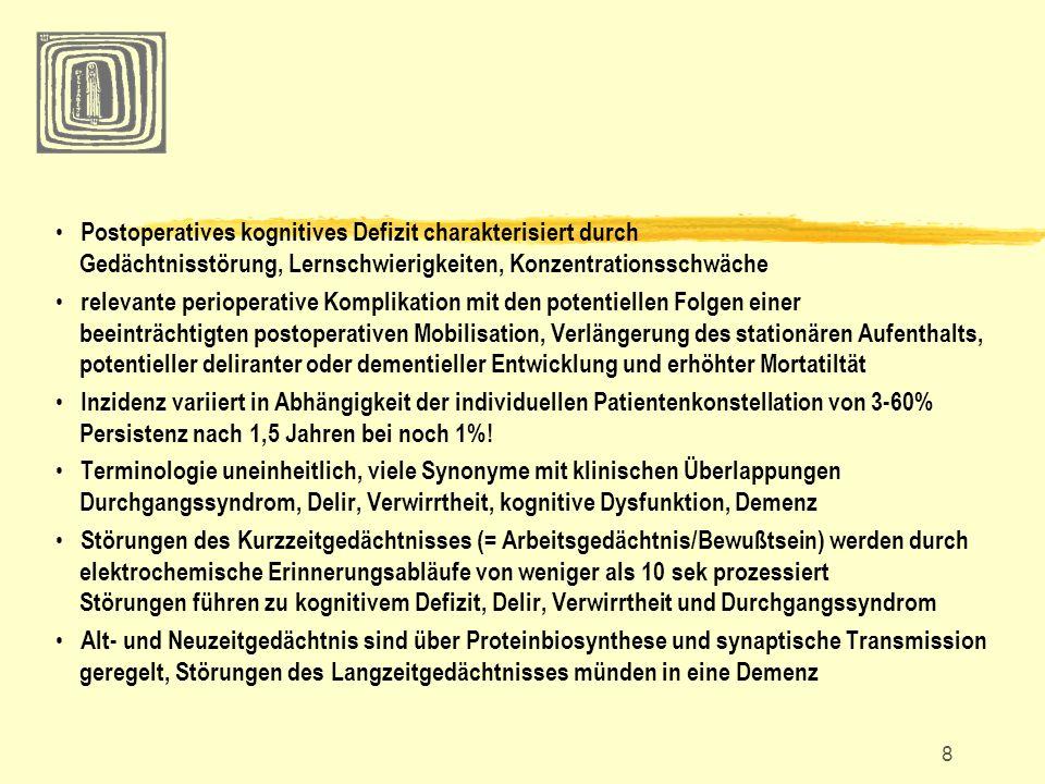 8 Postoperatives kognitives Defizit charakterisiert durch Gedächtnisstörung, Lernschwierigkeiten, Konzentrationsschwäche relevante perioperative Kompl