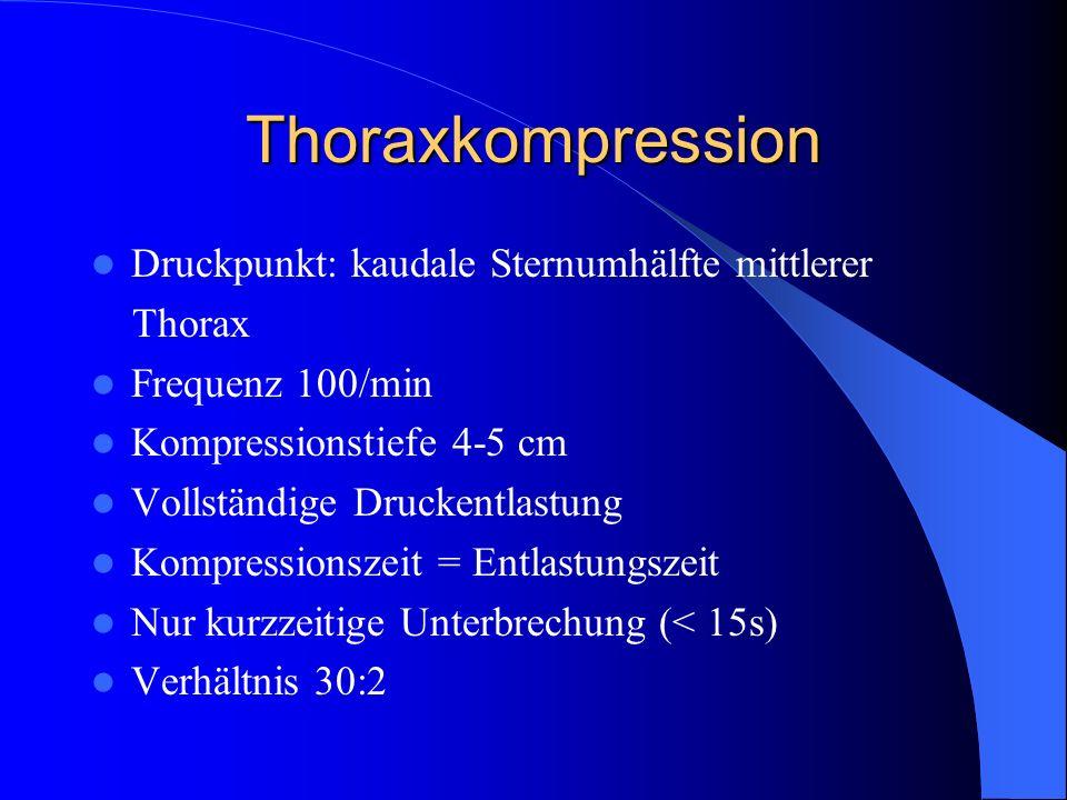Thoraxkompression Druckpunkt: kaudale Sternumhälfte mittlerer Thorax Frequenz 100/min Kompressionstiefe 4-5 cm Vollständige Druckentlastung Kompressio
