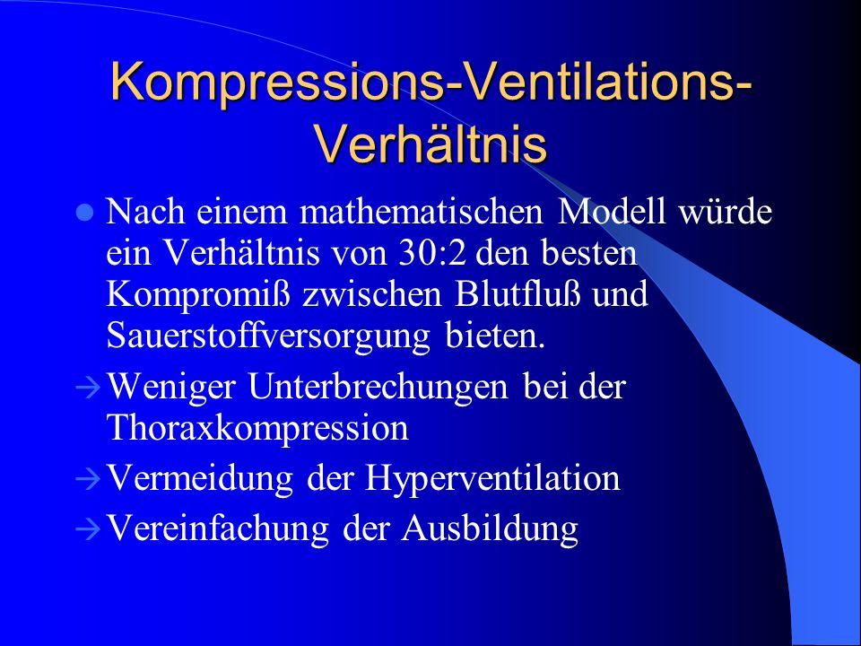 Kompressions-Ventilations- Verhältnis Nach einem mathematischen Modell würde ein Verhältnis von 30:2 den besten Kompromiß zwischen Blutfluß und Sauers
