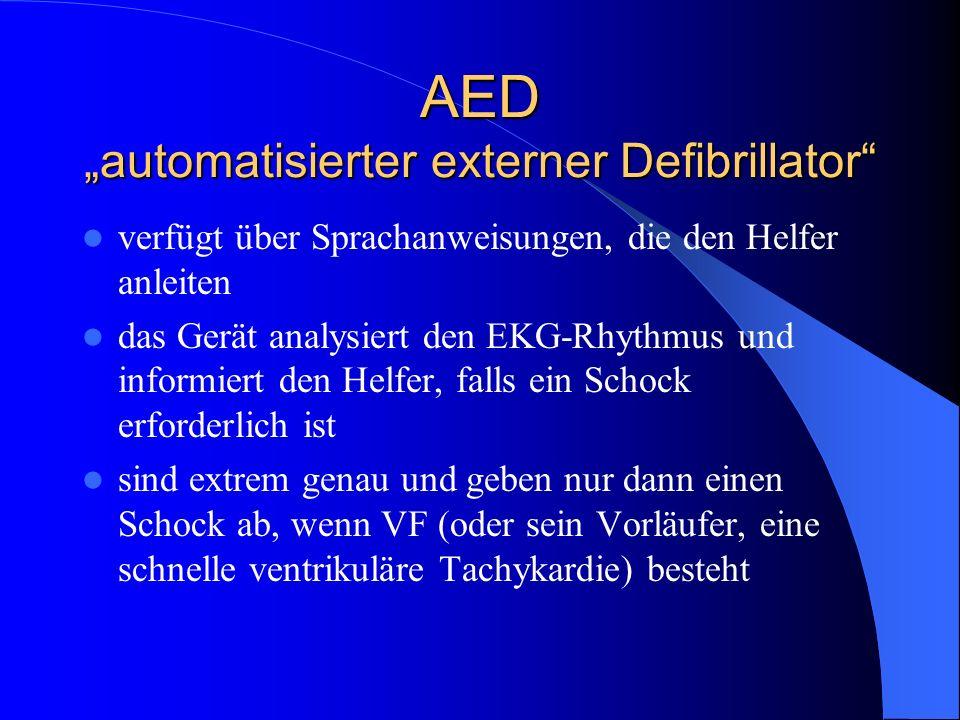 AED automatisierter externer Defibrillator verfügt über Sprachanweisungen, die den Helfer anleiten das Gerät analysiert den EKG-Rhythmus und informier