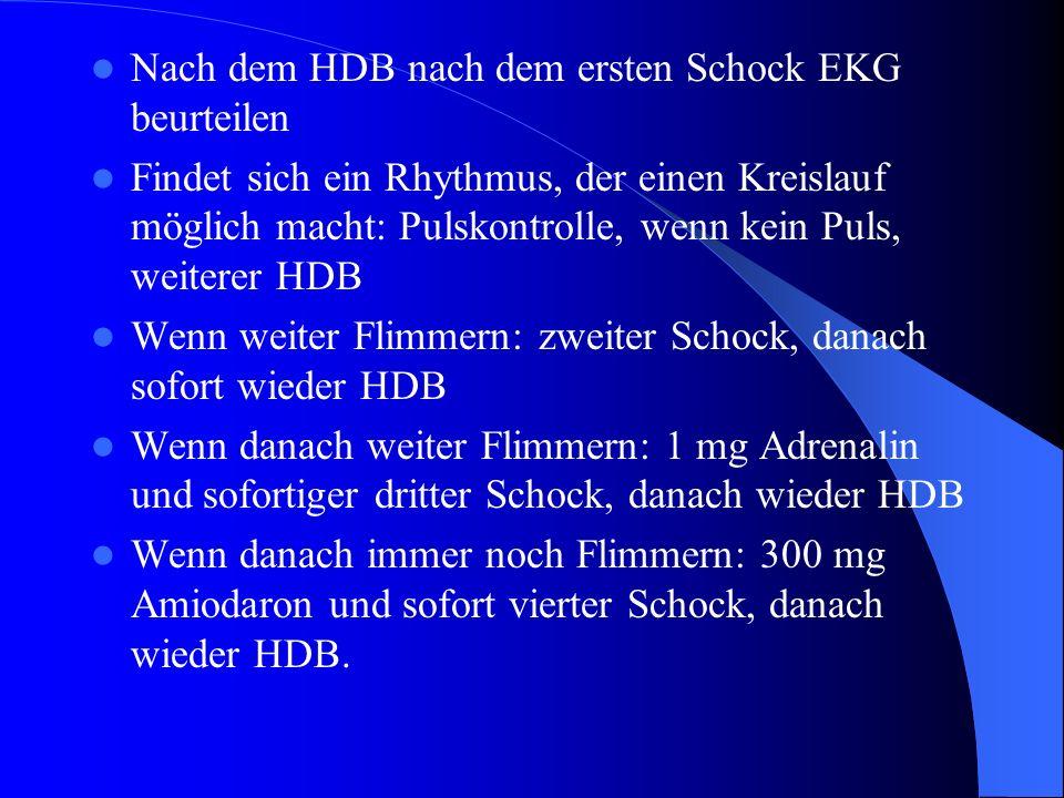 Nach dem HDB nach dem ersten Schock EKG beurteilen Findet sich ein Rhythmus, der einen Kreislauf möglich macht: Pulskontrolle, wenn kein Puls, weitere