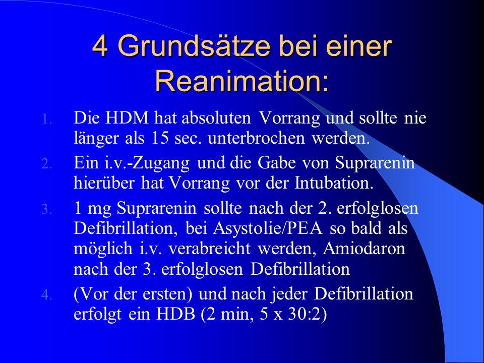 4 Grundsätze bei einer Reanimation: 1. Die HDM hat absoluten Vorrang und sollte nie länger als 15 sec. unterbrochen werden. 2. Ein i.v.-Zugang und die