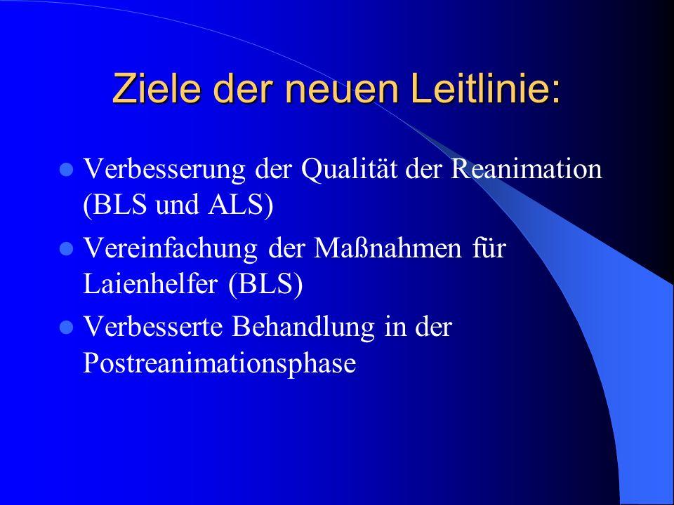Ziele der neuen Leitlinie: Verbesserung der Qualität der Reanimation (BLS und ALS) Vereinfachung der Maßnahmen für Laienhelfer (BLS) Verbesserte Behan