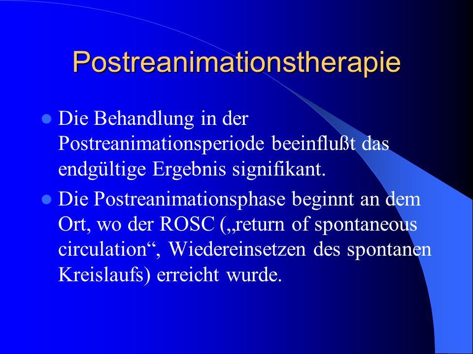 Postreanimationstherapie Die Behandlung in der Postreanimationsperiode beeinflußt das endgültige Ergebnis signifikant. Die Postreanimationsphase begin