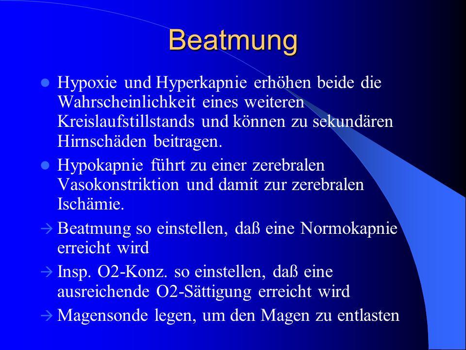 Beatmung Hypoxie und Hyperkapnie erhöhen beide die Wahrscheinlichkeit eines weiteren Kreislaufstillstands und können zu sekundären Hirnschäden beitrag