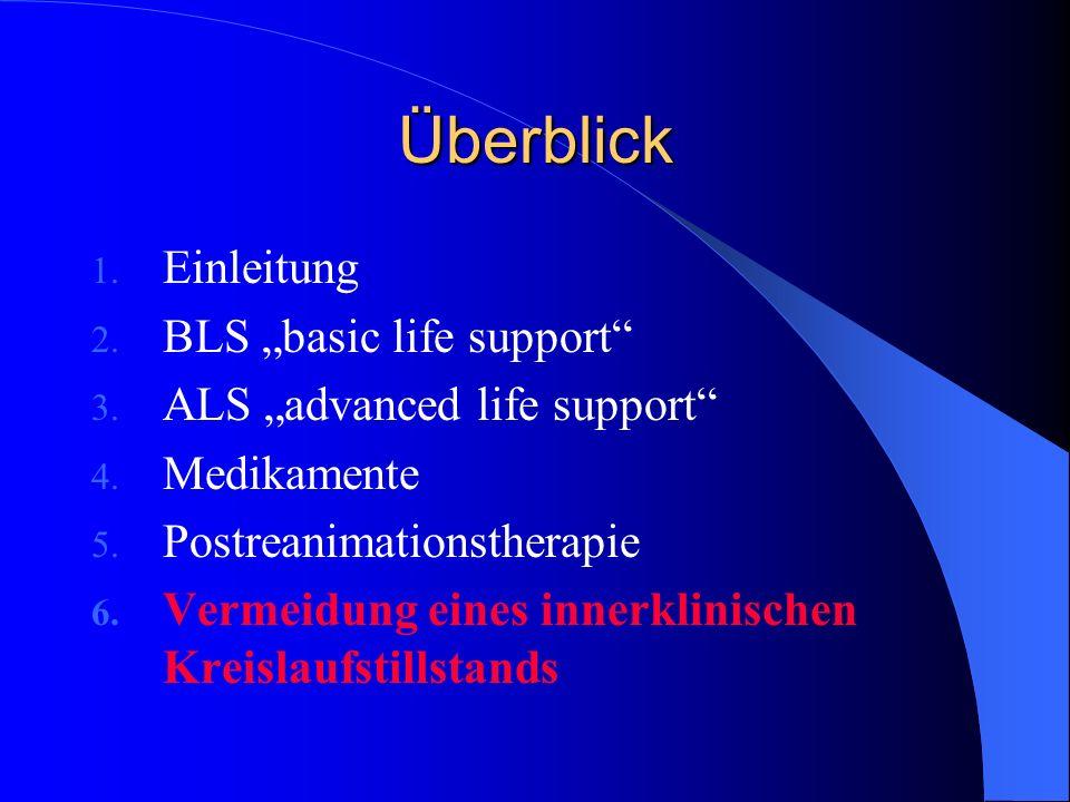 Überblick 1. Einleitung 2. BLS basic life support 3. ALS advanced life support 4. Medikamente 5. Postreanimationstherapie 6. Vermeidung eines innerkli